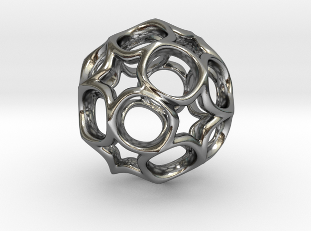 Truncated icosahedron 2CM in Polished Silver