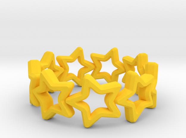Stars Ring 17 in Yellow Processed Versatile Plastic
