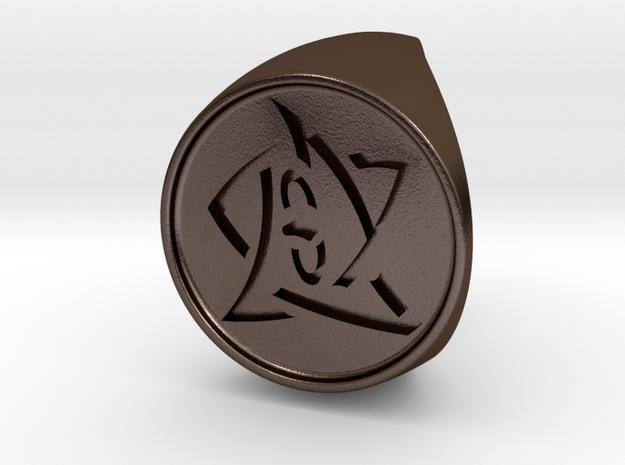 Elder Sign Ring Size 12.5 in Polished Bronze Steel