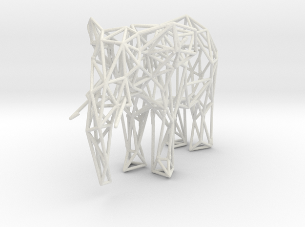 Low Poly Elephant in White Natural Versatile Plastic