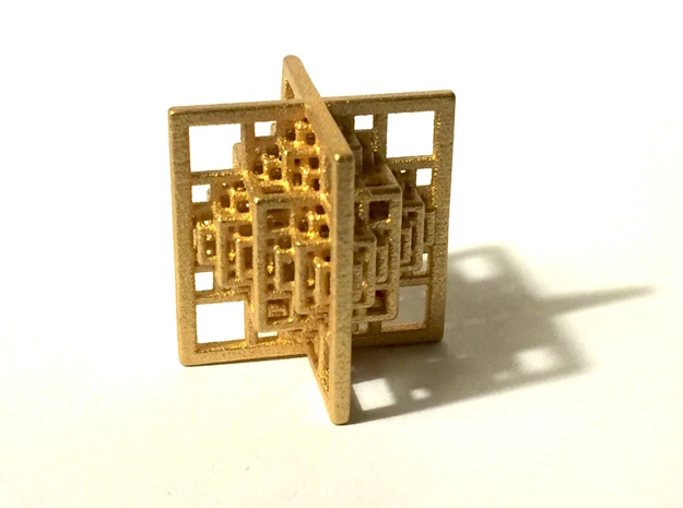 Beamed CuboOctahedron Mini 3d printed Polished Gold Steel