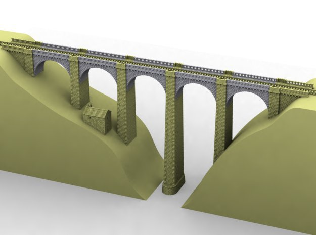 ZV1M1 Modular viaduct 1 track in White Natural Versatile Plastic