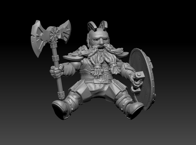 Mounted Dwarf Warrior 35mm (Goat & Bear Version) in Smooth Fine Detail Plastic