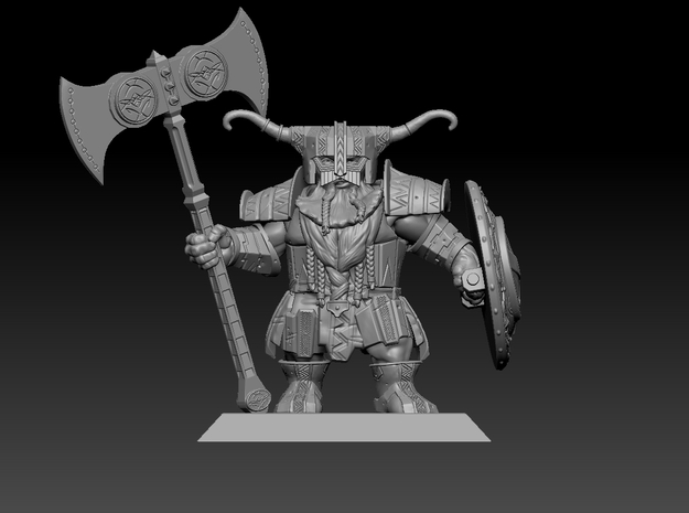 Dwarf Warrior 35mm Nº3 in Smooth Fine Detail Plastic