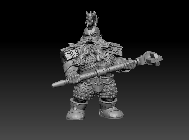 Mounted Dwarf Warrior 35mm (Mole Version) Nº 1 in Smooth Fine Detail Plastic