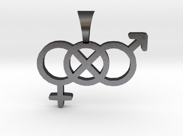 Smaller Genderfluid / Genderqueer Symbol Pendant in Polished and Bronzed Black Steel