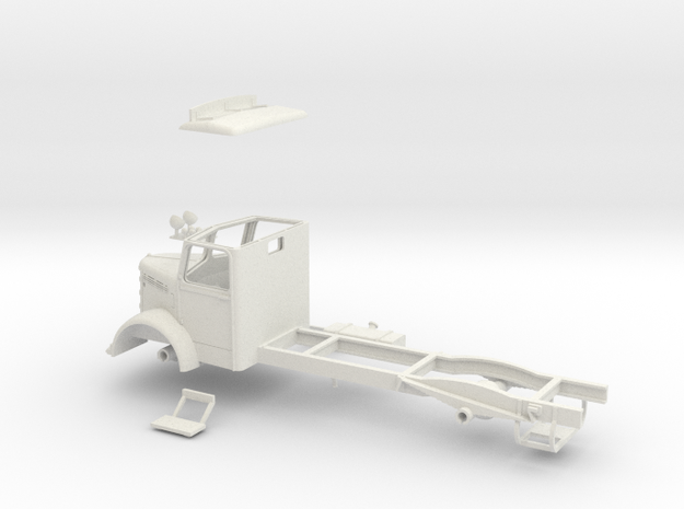 1:43 Bedford OL Cab & Chassis (Cab headboard) in White Natural Versatile Plastic