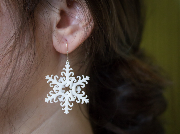 Interlaced Snowflake Earrings in White Strong & Flexible Polished
