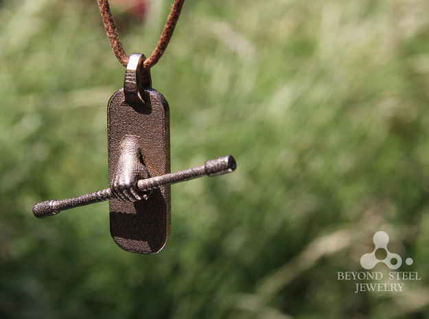 Staff Pendant 3d printed Stainless Steel Finish