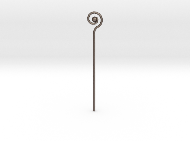 Spiral Staff in Polished Bronzed Silver Steel