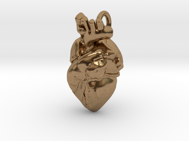 Bigger Anatomical Heart pendant in Natural Brass
