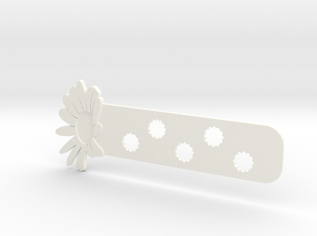Daisy Bookmark in White Strong & Flexible Polished