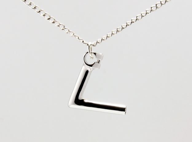 1A Bicyle Stem Pendant in Rhodium Plated Brass