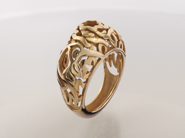 Koi-fish restrains Rose - US 7 - Ø17.3 - C54.3 in 14k Gold Plated Brass