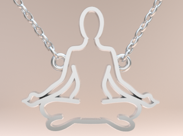 Meditation Yoga Lotus Pose in Polished Silver