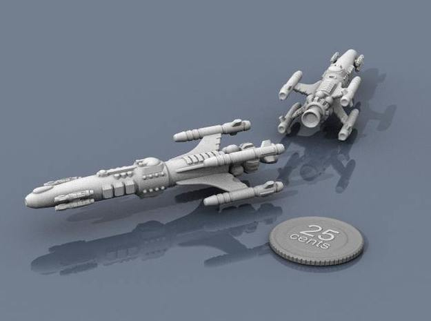 Privateer Impala Class Cruiser 3d printed Renders of the model, with a virtual quarter for scale.