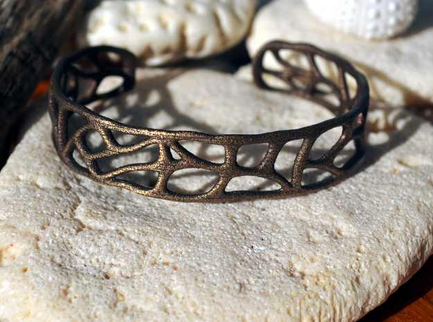 Bracelet abstract version #1 in Polished Bronze Steel