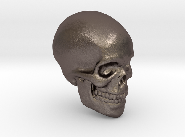 Skull Paperweight in Polished Bronzed Silver Steel