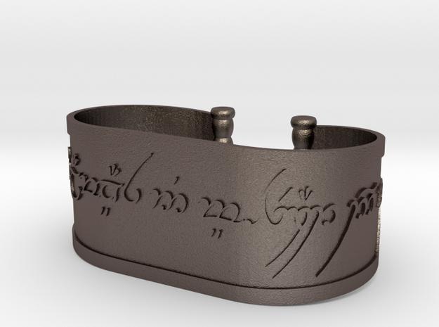 Inscribed Elven Bracelet in Polished Bronzed Silver Steel
