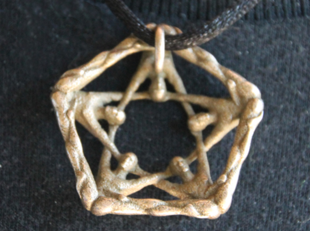 Pentaman pendant - Naked Geometry 3d printed Pentaman pendant, back