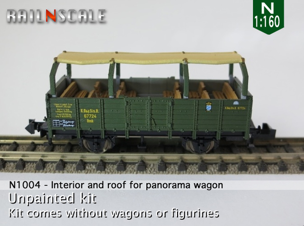Interior and roof for panorama wagon (N 1:160) in Frosted Ultra Detail