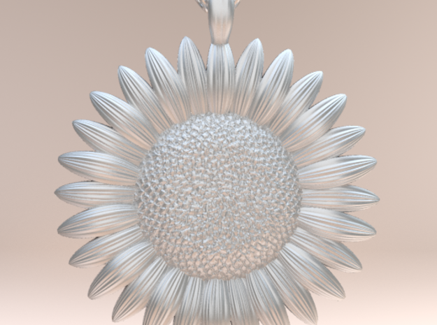 Sunflower Pendant in Polished Silver
