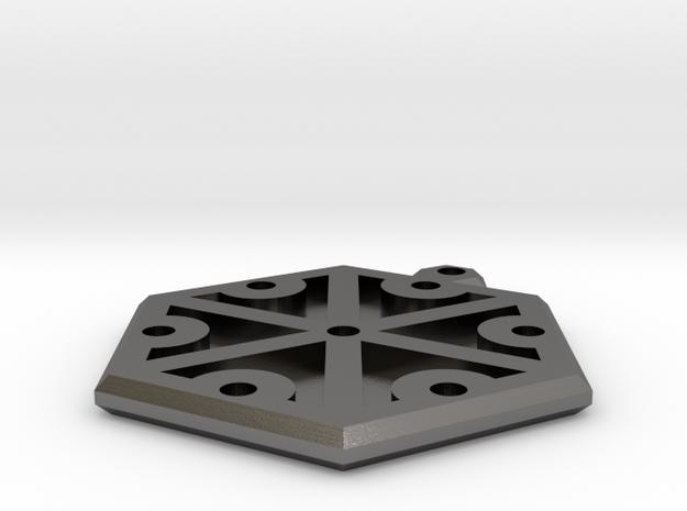 Hexagonal Thundermark Pendant in Polished Nickel Steel