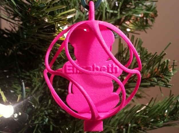 Teddy Bear Ornament - Custom in Pink Processed Versatile Plastic