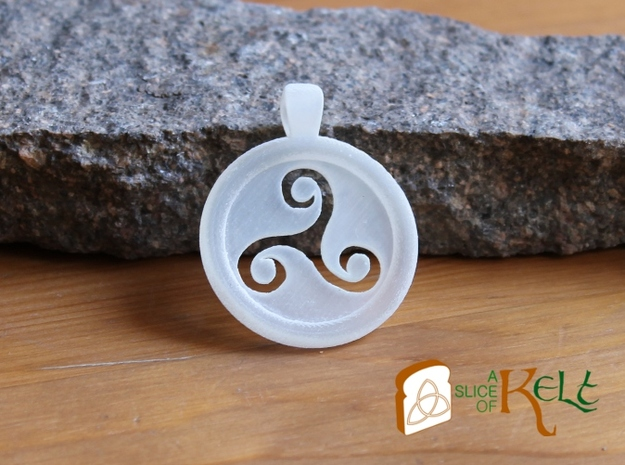Triskell Hole Round Pendant in Polished Bronzed Silver Steel
