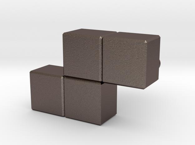 """""""Z"""" Tetris Cufflink in Stainless Steel"""
