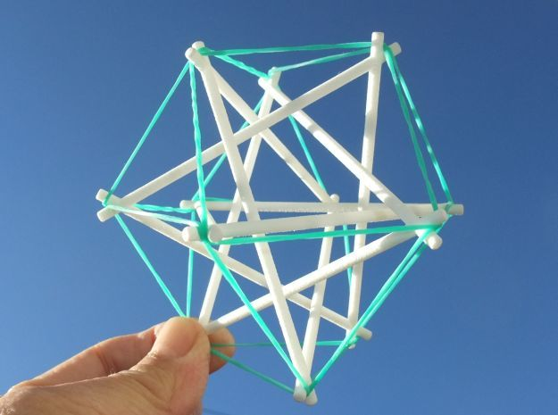 Tensegrity Cuboctahedron 1 in White Natural Versatile Plastic