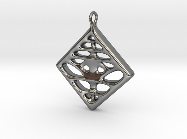Voronoi Pendant in Fine Detail Polished Silver
