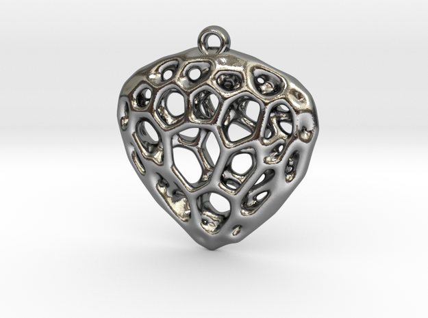 Simple Hearth Pendant in Polished Silver
