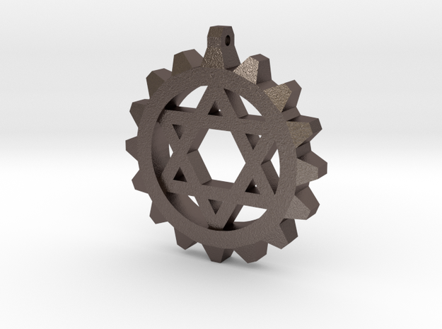 Gear Star of David in Polished Bronzed Silver Steel