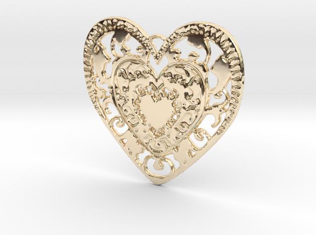 Flourish Whole Heart Pendant in 14K Gold