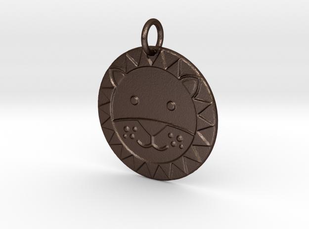 Cute Lion Face in Matte Bronze Steel