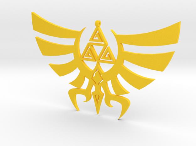Triskele Hyrule Crest Pendant in Yellow Processed Versatile Plastic