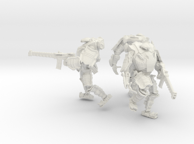 Combat Walkers X3, 15mm Scale, Unbased in White Natural Versatile Plastic