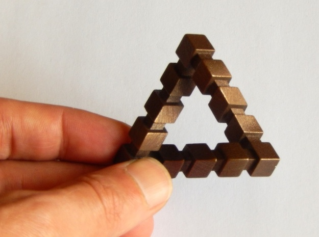 Impossible Triangle, Cubed in Matte Bronze Steel