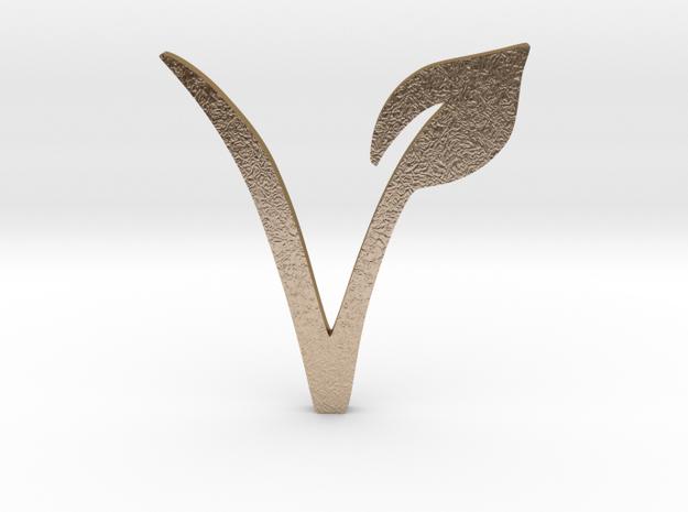 Vegan Symbol in Polished Gold Steel
