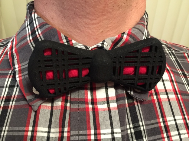 Insert-a-Color Plaid Bow Tie in Black Strong & Flexible