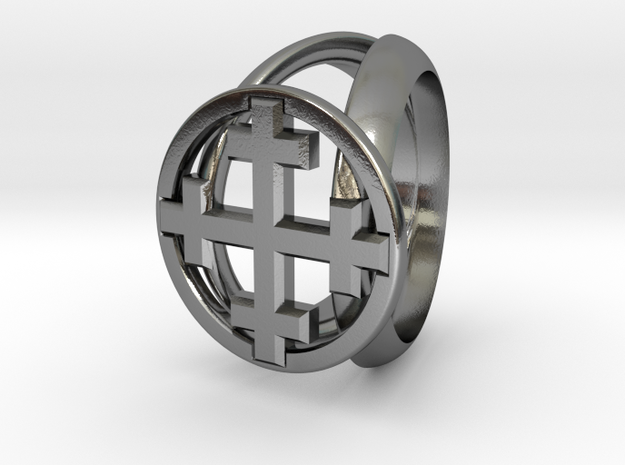 Jerusalem CrossRing Beta 10 SIZE in Polished Silver