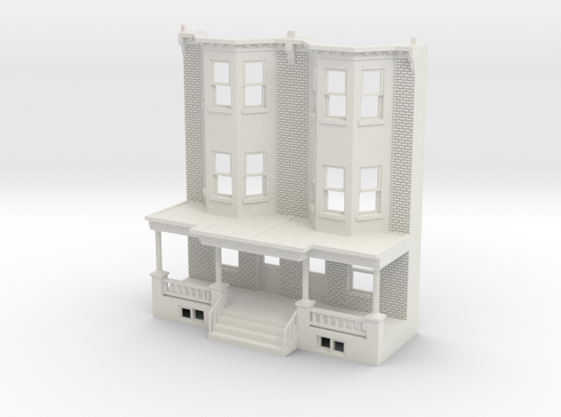 O scale WEST PHILLY 3S ROW HOME  Brick TWIN in White Natural Versatile Plastic