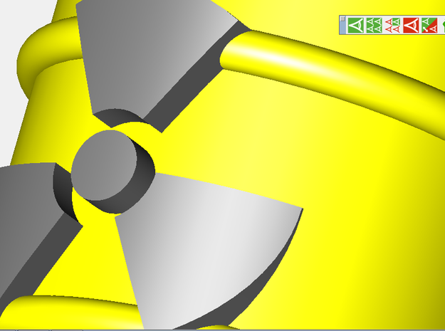 Radioactive Barrel, Yellow 3d printed A closeup rendering of the radioactive sign.