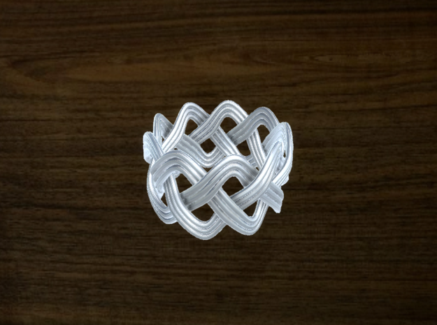 Turk's Head Knot Ring 3 Part X 9 Bight - Size 7 in White Natural Versatile Plastic