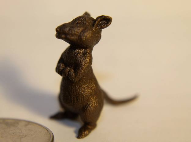 2 Inch Mouse 3d printed Photo of the 1 inch version in Brass