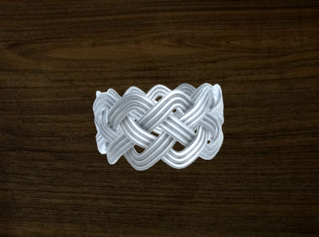 Turk's Head Knot Ring 4 Part X 11 Bight - Size 12. in White Natural Versatile Plastic