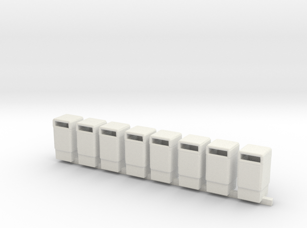 Trash Cans 1/87th HO Scale Set of 8 in White Natural Versatile Plastic