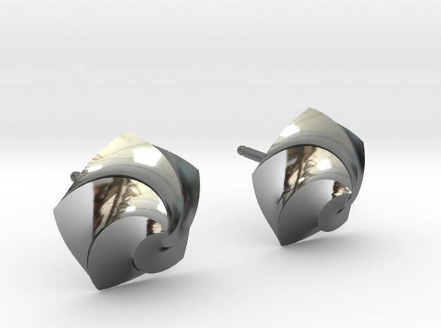 Swirl Earrings in Fine Detail Polished Silver