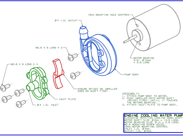 MODEL BOAT ENGINE COOLING WATER PUMP 3d printed EXPLODED ASSEMBLY VIEW